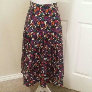 💚Vintage Chaus multicolor Pleated  long Skirt